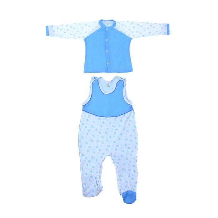 Комплект FIDO: ползунки высокие на лямках, рубашка 425/80, р.80 синий