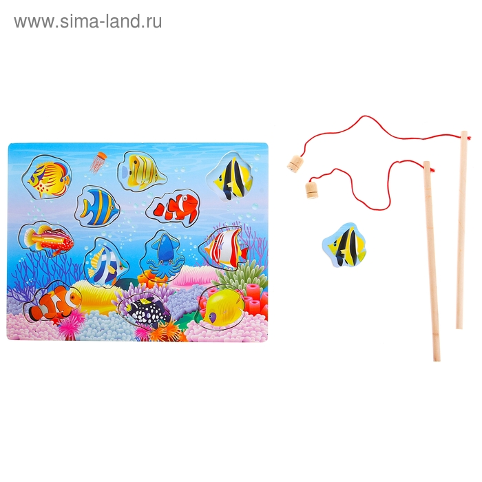 """Рыбалка """"Тропические рыбки"""", 12 элементов + 2 удочки"""