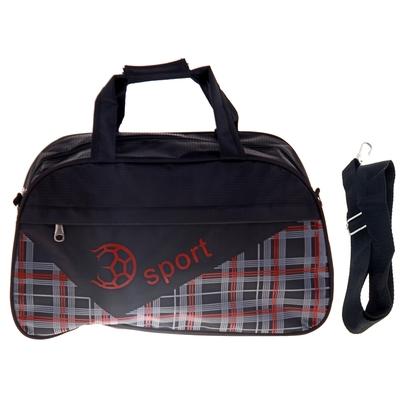 """Сумка спортивная """"Мяч"""", 1 отдел, наружный карман, длинный ремень, цвет черно-красный"""