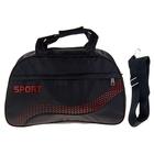 """Сумка спортивная """"Волна"""", 1 отдел, наружный карман, длинный ремень, цвет черно-красный"""