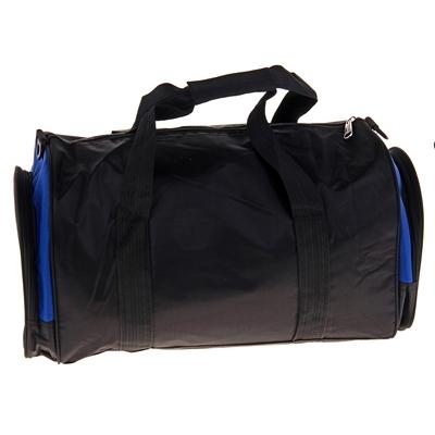 """Сумка спортивная """"Ходьба"""" 1 отдел, 3 наружных кармана, длинный ремень, черно-синий"""
