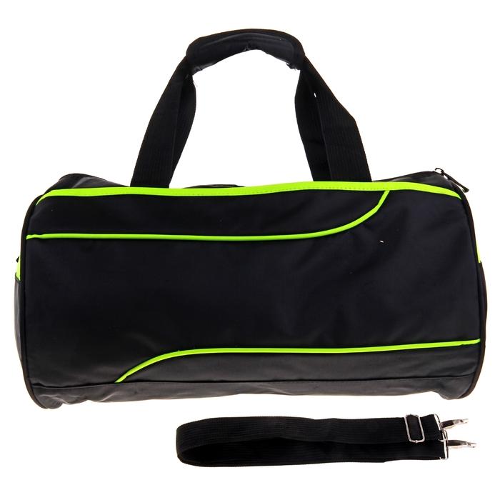 """Сумка спортивная """"Марафон"""", 1 отдел, наружный карман, длинный ремень, цвет черно-зеленый"""