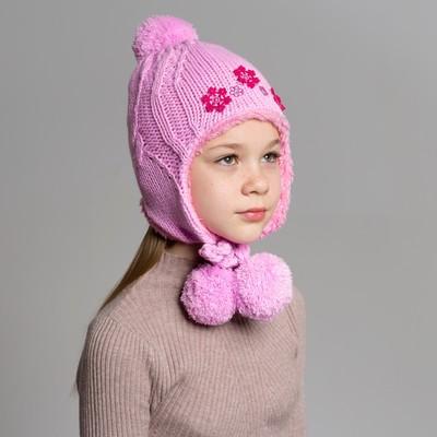 Шапка дет.зимняя Снежинка, объем головы 50-52см (3-4года), цвет розовый