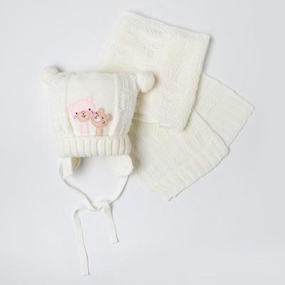 Комплект дет.зимний Медвежата:шапка, шарф, объем головы 42-44см (3-6мес), цвет белый