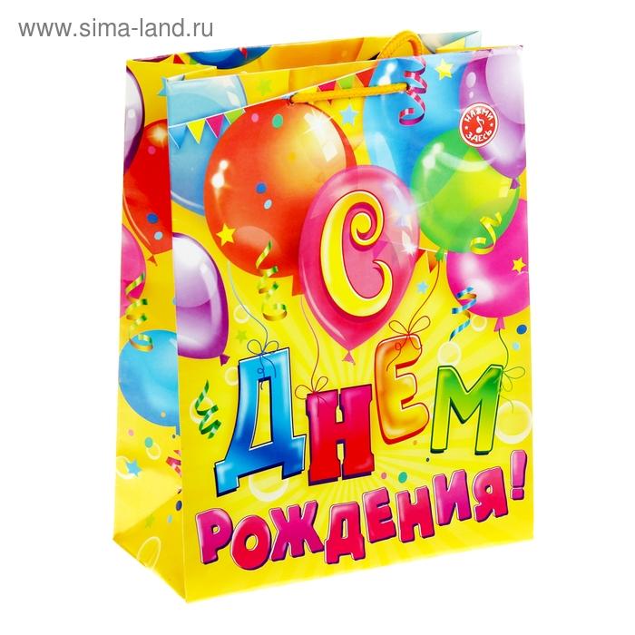 Пакет подарочный вертикальный «Шарики с днём рождения», MS 18 х 23 х 8 см