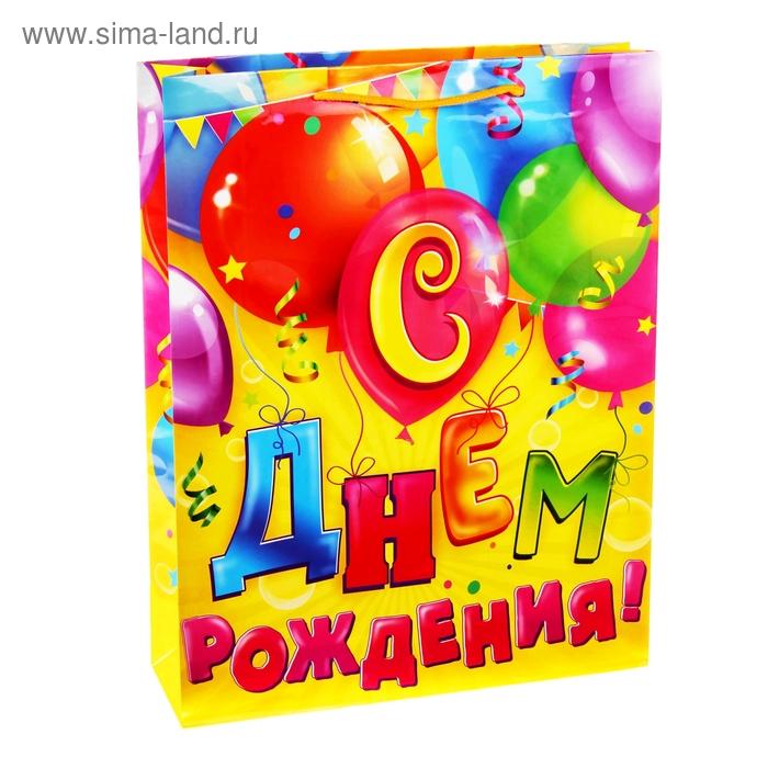 Пакет подарочный вертикальный «Шарики с днём рождения», ML 23 х 27 х 8 см
