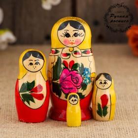 Matryoshka Semenovskaya, yellow handkerchief, 4 doll, 9 cm