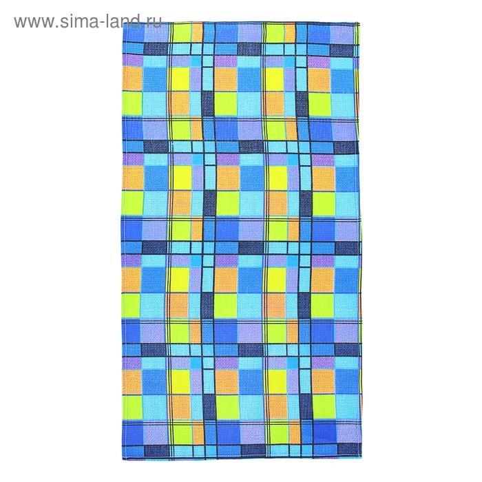 """Полотенце вафельное набивное """"Клетка"""", размер 40х75 см, цвет синий, 160 г/м2"""