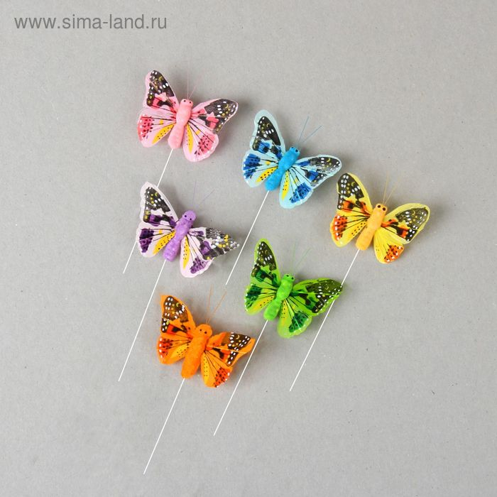 """Декор на палочке """"Бабочки"""", цвета МИКС (А275-5)"""
