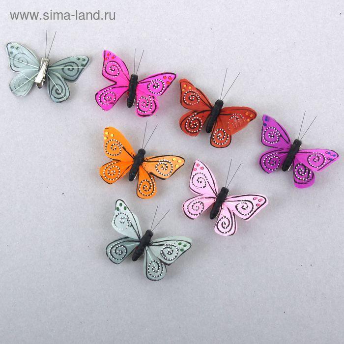 "Декор ""Бабочки"" на прищепке, цвета МИКС"
