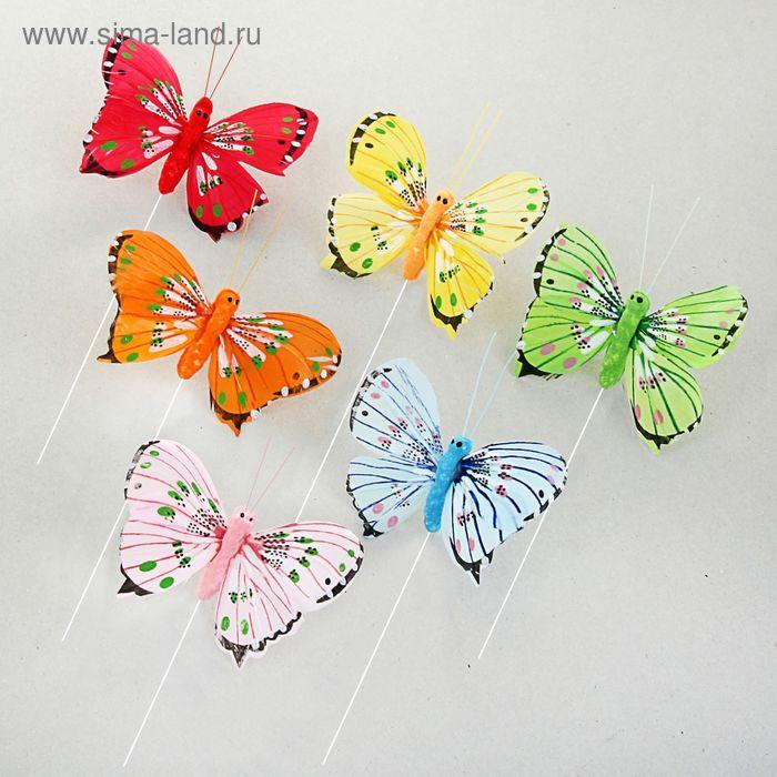 """Декор на палочке """"Бабочки"""", цвета МИКС (А801-8)"""