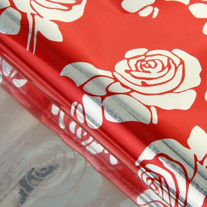 """Пленка голография """"Розы"""", красный, 70 х 100 см"""
