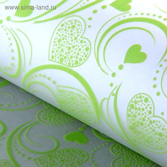 """Пленка прозрачная """"Ажурные сердечки"""", цвет зеленый"""