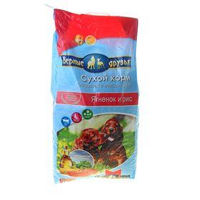 """Сухой корм """"Верные друзья"""" для щенков и молодых собак, ягненок и рис, 15 кг"""