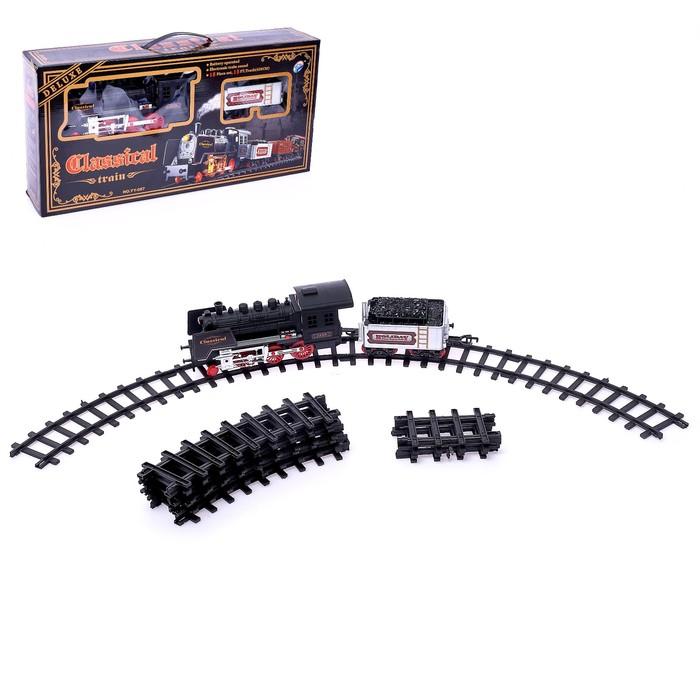 Железная дорога «Классический паровоз», 18 деталей, световые и звуковые эффекты, с дымом, работает от батареек, длина пути 420 см