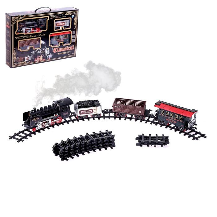 Железная дорога «Классический паровоз», 20 деталей, световые и звуковые эффекты, с дымом, работает от батареек, длина пути 420 см