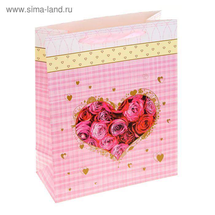 """Пакет ламинированный """"Цветочное сердце"""", цвет розовый"""