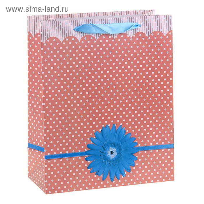 """Пакет ламинированный """"Гербера и горошек"""", цвет персиковый"""