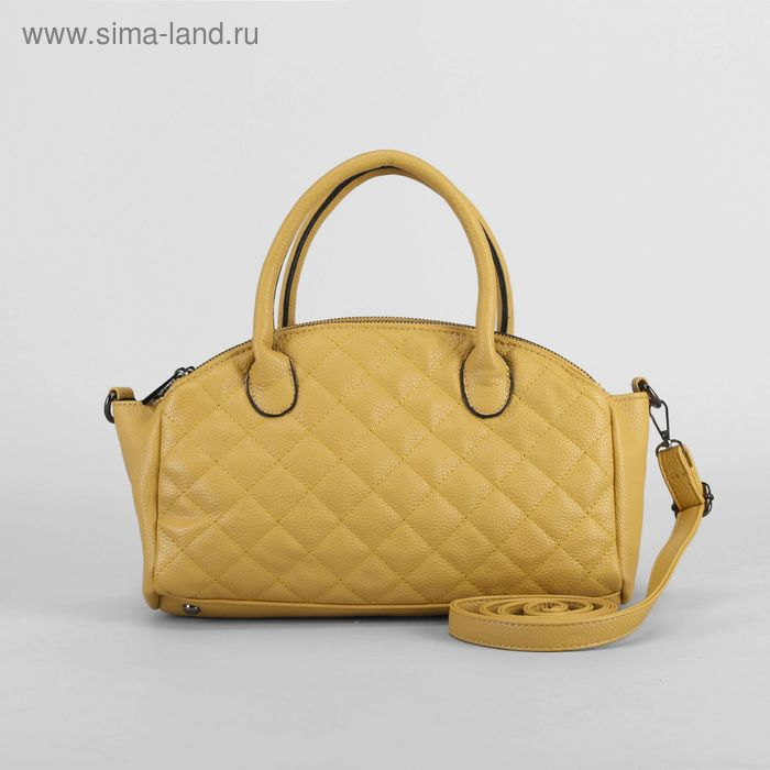"""Сумка женская """"Люсия"""", 3 отдела, регулируемый ремень, цвет светло-желтый"""