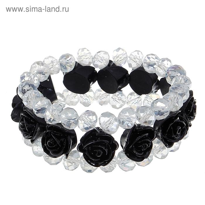 """Браслет-ассорти """"Нежность розы"""", цвет чёрный"""