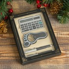Gift set 4in1 (2 handles, bottle opener leg, calculator), in cards. box, BLK, 17х12 cm