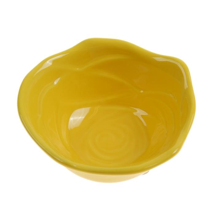 """Миска для снэков 200 мл """"Роза"""", 12 см, цвет жёлтый"""