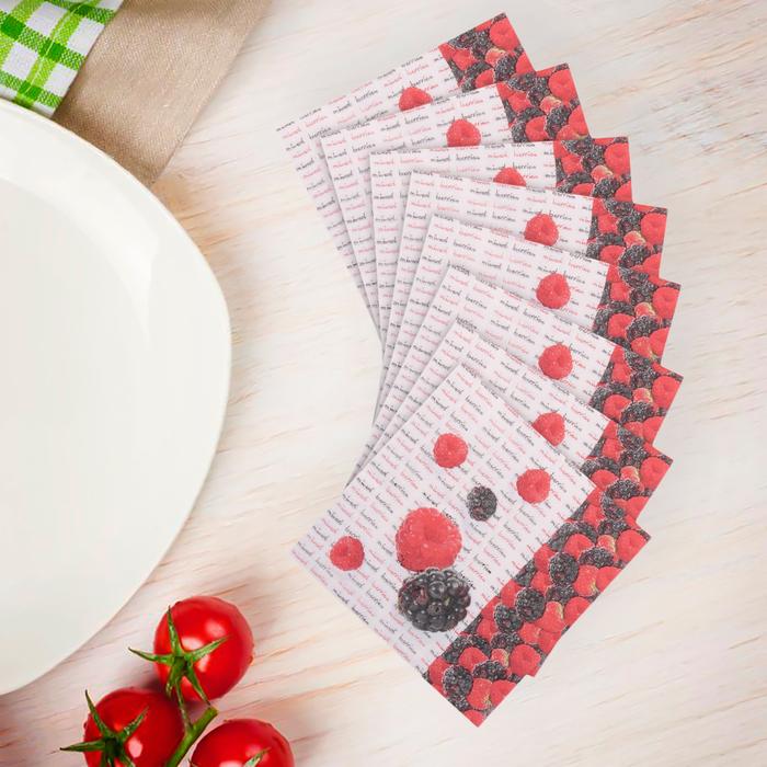 Салфетки бумажные (набор 20 шт) 33*33 см Ягодки