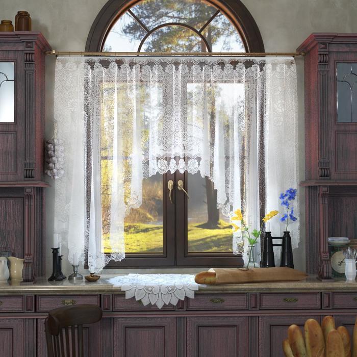Штора кухонная со шторной лентой, ширина 208 см, высота 186 см, цвет белый