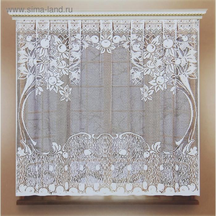 Штора кухонная без шторной ленты, ширина 170 см, высота 140 см, цвет белый