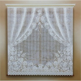 Kitchen curtain without curtain tape, width 170 cm, height 165 cm, white.
