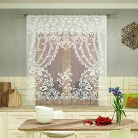 Штора кухонная 200х170 см, белый, 100% п/э, без шторной ленты Ош