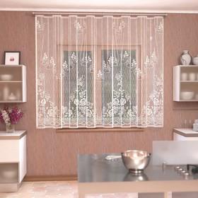 Штора кухонная 290х170 см, белый, 100% п/э, шторная лента