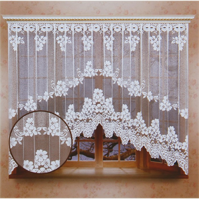 Штора (со шторной лентой), цвет белый, размер 165х340 см