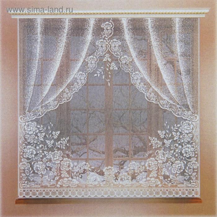 Штора кухонная без шторной ленты, ширина 170 см, высота 165 см, цвет белый