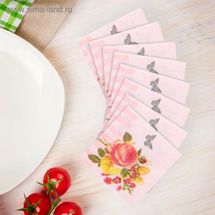 Салфетки бумажные (набор 20 шт) 33*33 см Букет и бабочка