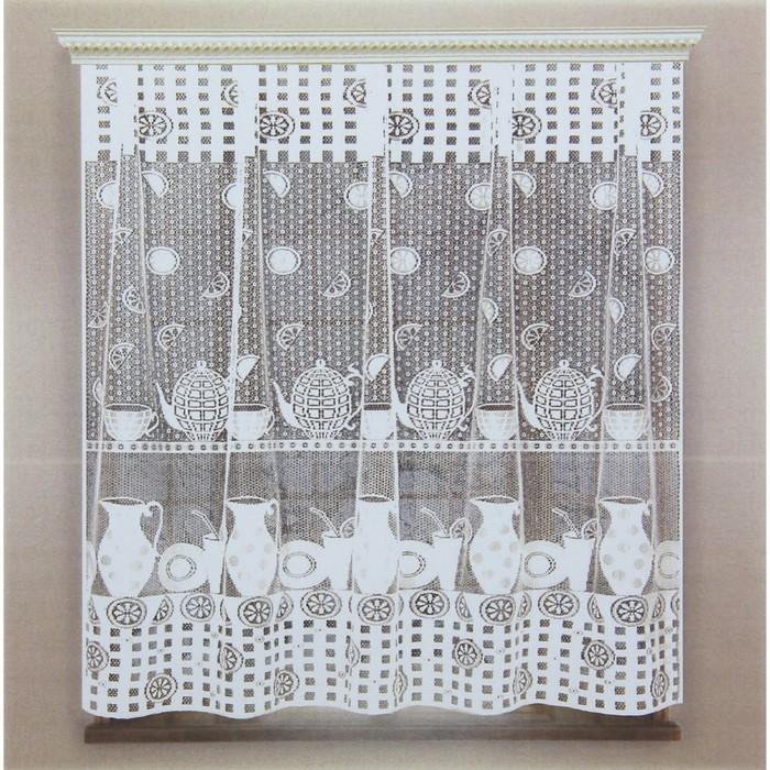 Штора кухонная без шторной ленты, ширина 170 см, высота 170 см, цвет белый