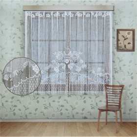 Curtain with curtain tape, width 210 cm, height 155 cm, white.