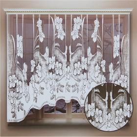 Штора кухонная со шторной лентой, ширина 260 см, высота 160 см, цвет белый