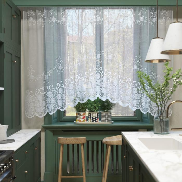 Штора кухонная со шторной лентой, ширина 305 см, высота 165 см, цвет белый