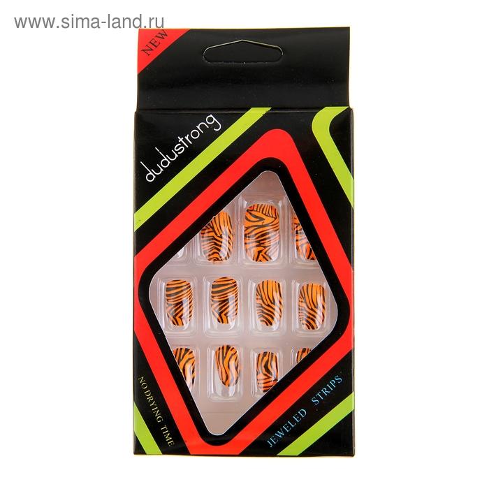 """Ногти накладные """"Оранжевый тигр"""", с клеем, 12 шт"""