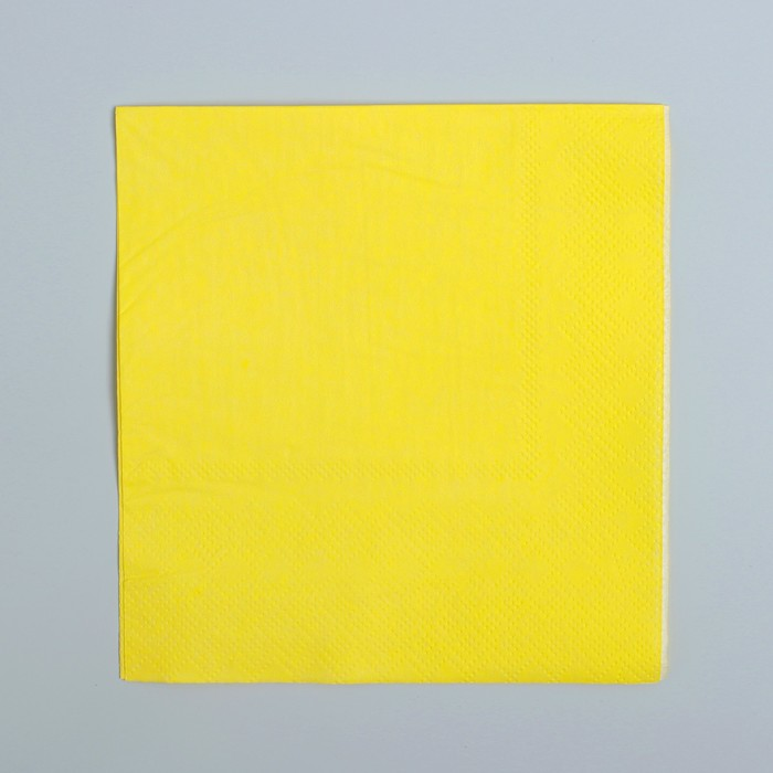 Салфетки бумажные (набор 20 шт) 25*25 см Однотонные, жёлтый