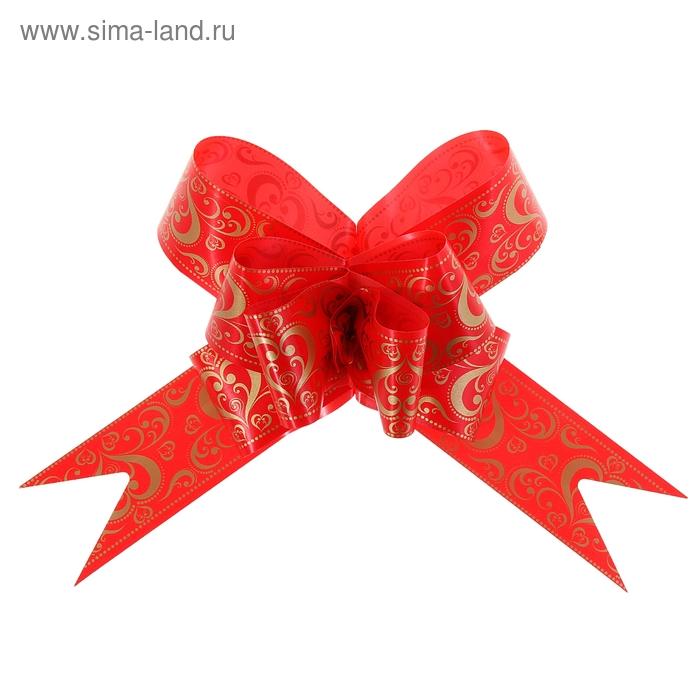 """Бант-бабочка №5 """"Золотое сердце"""", цвет красный"""