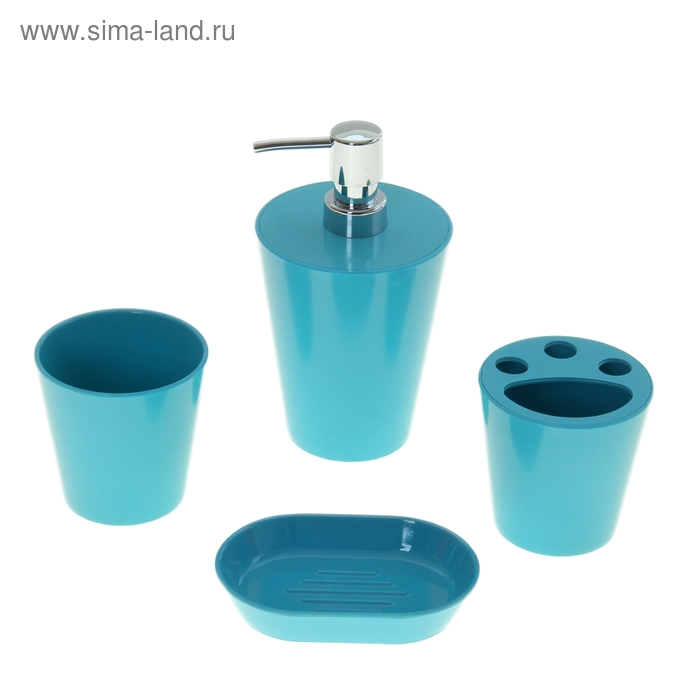 """Набор в ванную """"Нежность"""", 4 предмета: мыльница, дозатор для мыла, 2 стакана, синий"""