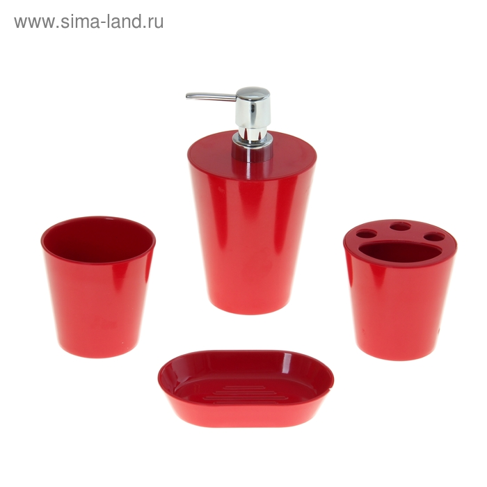 """Набор в ванную """"Нежность"""", 4 предмета: мыльница, дозатор для мыла, 2 стакана, красный"""