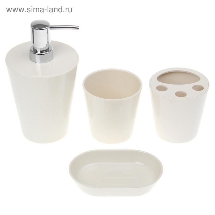 """Набор в ванную """"Нежность"""", 4 предмета: мыльница, дозатор для мыла, 2 стакана, белый"""