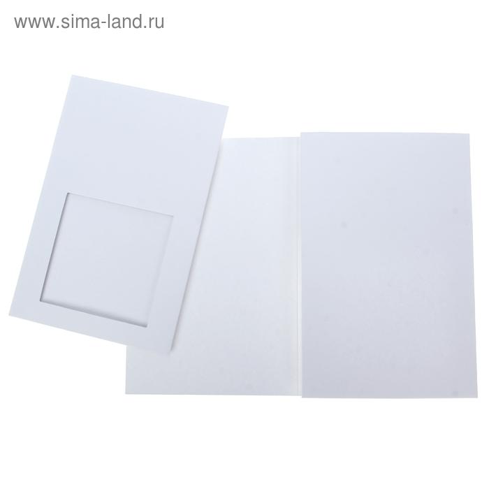 Открытка заготовка с квадратным окном дизайнерская