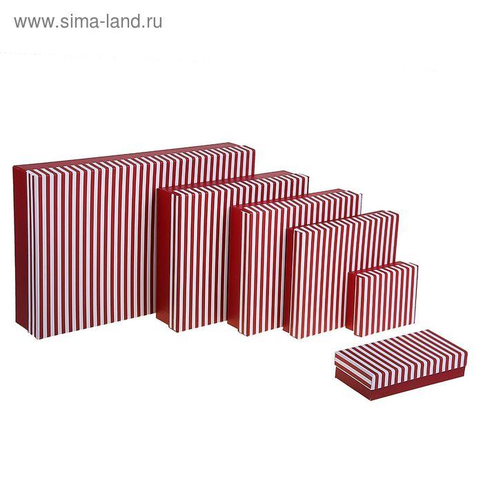 """Набор коробок 6в1 """"Полосочка"""", цвет красный"""