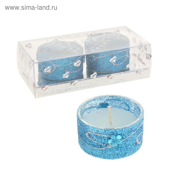 """Свечи восковые (набор 2 шт) """"Легкость"""", цвет синий"""