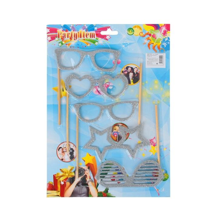 """Аксессуары для фотосессии на палочке """"Гламурные очки"""" (набор 5 шт.), цвет: серебряный"""