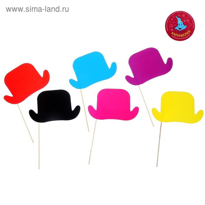 """Аксессуары для фотосессии на палочке """"Шляпка"""" (набор 6 шт.), цвета МИКС"""